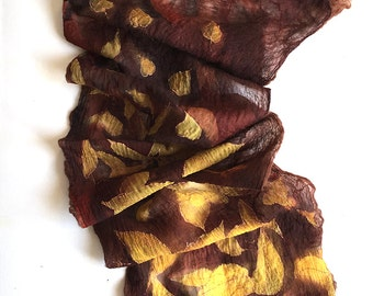Autumn Leaves Felted scarf, Brown yellow silk chiffon scarf double layered, Felted scarf, Winter fashion, Hand painted scarf Unique gift mom