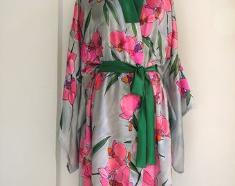 Hand painted kimono-Orchids Bay- Silk Satin Kimono Robe- Gray Pink Floral Kimono- Silk Tunic- Kaftan Robe painted-Floral Silk Kimono KA17