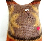 Stuffed Animal Cat Doll - Mohair Calico Cat - Tabby Cat - Cat Lover Gift - Soft Cat Doll - Soft Toy Cat - Mohair Cat - Felted Wool Cat Doll