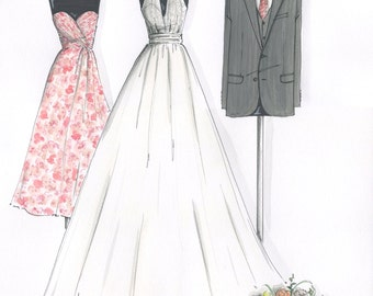 Custom Bride, Groom & Bridesmaid Hand-Drawn Illustration