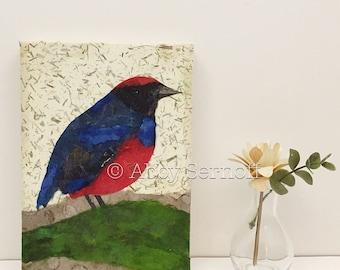 Nature Lover Gift, Unique Bird Decor, Bird Art, Canvas, Whimsical, Original, Unique Gift, Colorful, Home Decor, 5 x 7