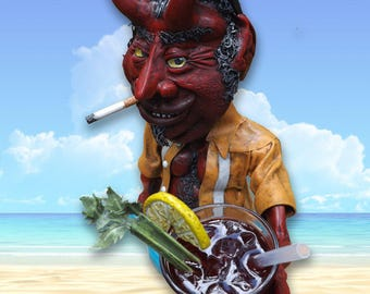 Mephistopheles in Retirement, or The Beast of Boca, original mixed-media sculpture by Jett Vincent Bailey