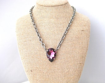 Swarovski Amethyst Large Pear Chunky Chain Necklace, 30x20mm Pear, Bold Jewelry, Chunky Chain Necklaces,For Her