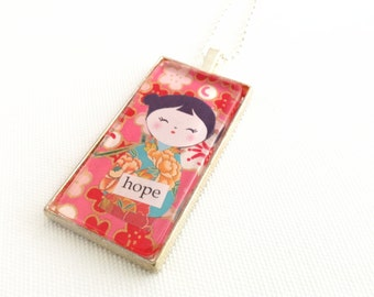kokeshi doll necklace, hot pink chiyogami paper jewellery, kokeshi necklace domino pendant, hope jewelry