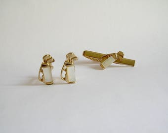Vintage Mother of Pearl Golf Clubs in Golf Bag Set Cuff Links and Tie Clip