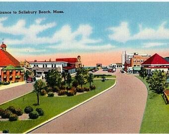 Vintage Massachusetts Postcard - Entrance to Salisbury Beach (Unused)