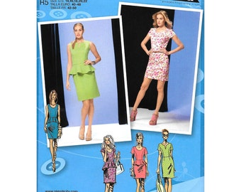 Peplum Dress Pattern Simplicity 1650 Fitted Mini Dress Scoop or Slit Neckline Dress Project Runway Womens Sewing Pattern Size 14 to 22 UNCUT