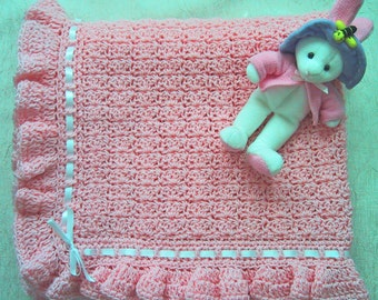 Crocheted Baby Afghan - Pink with Ruffle - Nice Baby Shower Gift for Baby Girl - Handmade - Ready to Ship