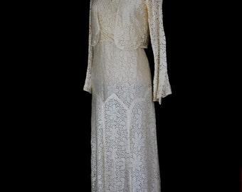 Original vintage 1930s bias cut lace wedding dress - Small - FREE SHIPPING WORLDWIDE