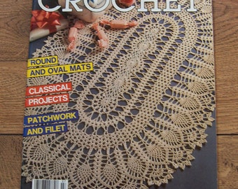vintage 1989 Decorative Crochet magazine #7 doilies/ pillow covers/tablecloth /wall hangings