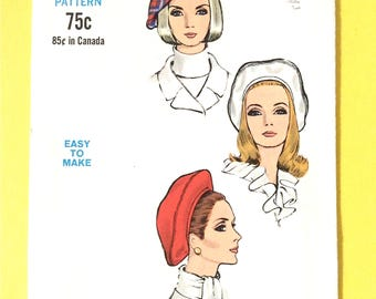 Uncut Vogue 7385 Hat Beret  circa 1968 Size 21-1/2 Inch Head  Lined beret with headband has top-stitch trim 1960s Vintage Sewing Pattern