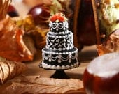 Royal Icing Bones Cake - Beautiful Black Three Tiered Cake Decorated for Autumn / Fall / Halloween - 12th Scale Miniature Food