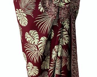 Hawaiian Beach Sarong Skirt - Men's or Women's Batik Sarong - Burgundy & Tan Jungle Leaf Batik Pareo Swimsuit Cover Up Lavalava Beach Wrap
