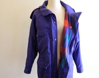 Eddie Bauer PLAID wool lined 80s / 90s purple hooded parka sz. Small / Medium