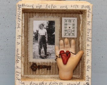 "Assemblage Art Shrine Shadow Box Found Objects Mixed Media Miniature Vignette ""Sassy Gal"""