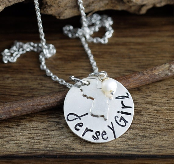Jersey Girl Necklace - Hand Stamped Necklace, Personalized Jewelry, New Jersey Necklace, Beach Jewelry, State Necklace