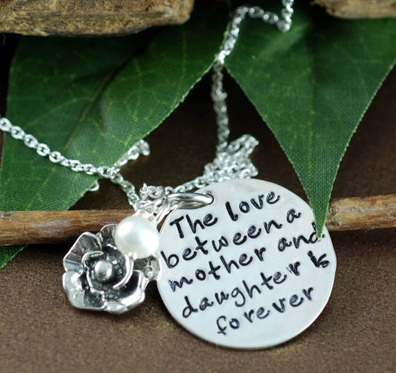Mother Daughter Necklace, Hand Stamped Mommy Necklace, The love between a Mother & Daughter is forever,  Mothers Day Gift, Gift for Mom