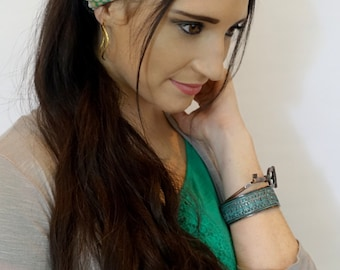Wide Headband Cotton Jersey Turband Head Wrap Bohemian Stripes Yoga HeadBand Denim Blue Olive Green or Choose Your Color