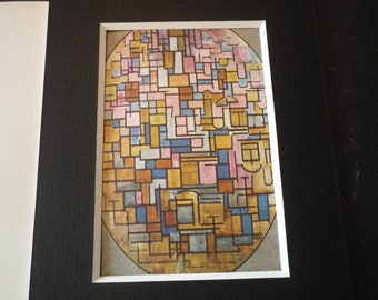Mondrian Oval Composition 1914 - Matted Print Ready for 5 by 7 frame and hang- - Color Plate - great display item gift for art lover