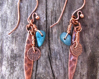 Desert Oasis Turquoise and Copper Dangle Earrings 5