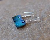 Small blue green Boulder Opal earrings -  gem stone earrings - one of a kind handmade in Australia on sterling silver ear hooks