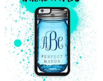 iPhone 7 or 7 PLUS Custom Mongoram Blue Mason Jar Phone Case