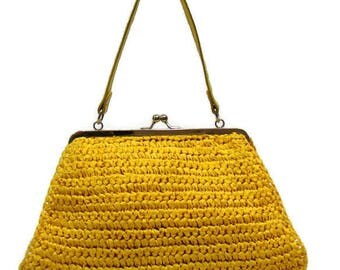 Vintage Yellow Handbag Yellow Purses and Handbags Woven Handbags Summer Bright Yellow Handbag Kisslock Handbag Top Handle Bags