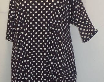 Plus Size Tunic, Coco and Juan, Plus Size Asymmetrical, Tunic Top, Black and White Dots, Traveler Knit Size 1 (fits 1X,2X)   Bust 50 inches