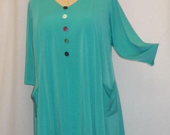Coco and Juan,  Lagenlook, Plus Size Tunic Top, Green, Turquoise, Traveler Knit Trapeze, Women's Tunic,  Size 1 (fits 1X/2X)  Bust 50 inches