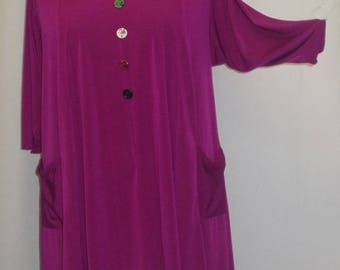 Coco and Juan,  Lagenlook, Plus Size Tunic Top, Fuchsia, Traveler Knit Trapeze, Women's Tunic,  Size 1 (fits 1X/2X)  Bust 50 inches