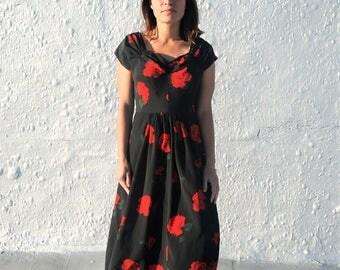 Vintage 1940s Black & Red Rose Print Maxi Dress S/M