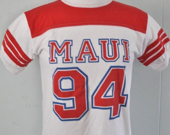 Vintage Hawaii Jersey Tee Maui 90s 1994 Authentic Red White Youth Large Ladies SMALL