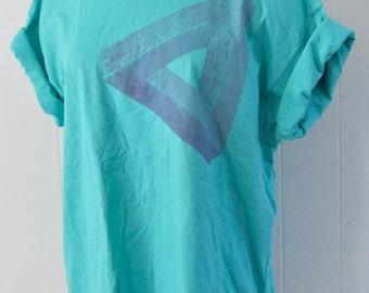 Penrose Triangle Tee One of a Kind Tshirt Aqua Teal Blue Gray Blue Original Design TShirt Geometric Abstract Ladies LARGE
