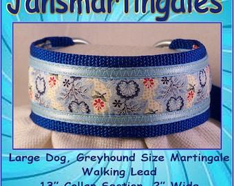 Jansmartingales, Blue Walking Lead, Dog Collar and Lead Combination, Greyhound, Large Dog Size, Blu124