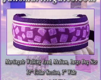 "Jansmartigales  Larger Whippet, Small Greyhound, Medium Size  Martingale Collar Leash Combination, 12"" Collar Section  Wpur051"