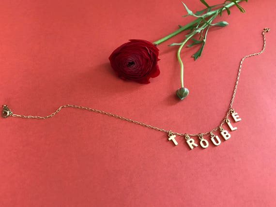 Trouble gold letter charm choker necklace