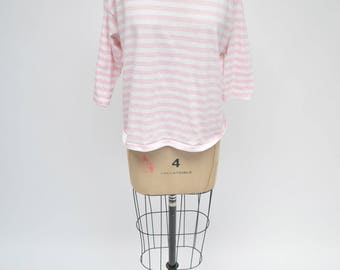 vintage tshirt 1980s pink and white striped mock neck turtleneck 80s retro 90s