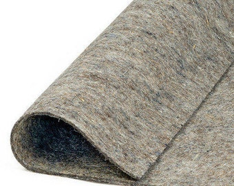 "Thin Medium Density Industrial Wool Felt by the Foot - Natural Gray, SAE F55 Grade, 72"" Wide, 1/16"" Thick"