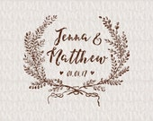 Rustic Wreath Custom Wedding Monogram - Wedding Logo - Wedding Crest