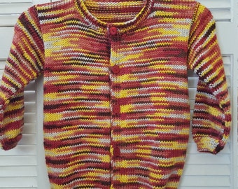Child Size 4 Yr Hand Knitted Button Up Sweater/ Autumn Colors/ Unisex/  Handmade Clothing For Kids/ Children/ Knit/ Winter Clothes