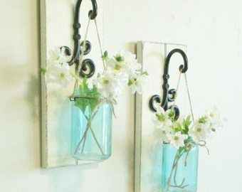 Chic Farmhouse Weathered Wood Wall Decor... 2  Hanging Turquoise Jar Wall Sconces on Distressed White Boards.Hanging Mason Jars Wall Decor