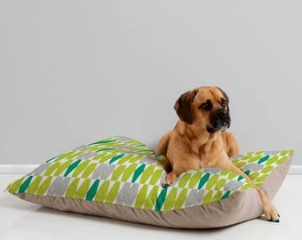 Midcentury Modern Geometric Dog Bed Pillow // Pet Bedding // Animal Pillow // Pet Cushion // Retro Style // Abacus Design // Dog Bed //Green