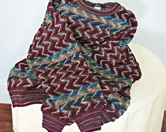 Vintage Men's Sweater Boucle Striped Pullover Italian Warm Colors Northern Knit Size Large