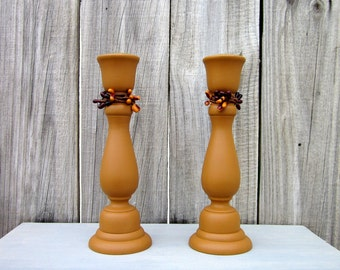 Taper Candle Holders, Rustic, Mustard Yellow, Pip Berry Accent, Candle Sticks, Pair, Set of Two, Cottage Chic, Painted Wood, Home Decor