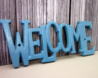 Welcome Sign, Plaque, Cast Iron, Sea Blue, Painted, Door Sign, House Sign, Metal Welcome Sign, Indoor, Outdoor, Cast Iron Wall Decor