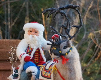 Needle Felted Christmas Sleigh and Reindeer- Needlefelted Wool Animal Soft Sculpture by McBride House
