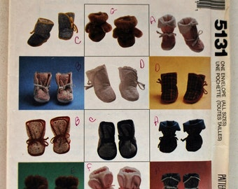 McCall's Craft Pattern 5131 - Baby Booties, Eight Styles including three animal versions, Size Newborn, Small, Medium Large