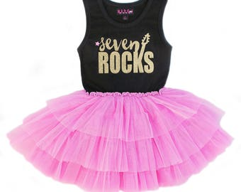 Rock Star Tutu Dress, Gold and Pink Birthday, Rock Star Party, Girls Birthday Dress, Seven Rocks, 7th Birthday Girl
