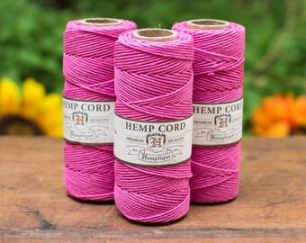 Hemp Cord, 1mm Bright Pink, Hemp Twine,  Macrame  Cord, Hemp Jewelry Cord  -T21