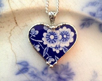 Broken china jewelry  - broken china heart pendant necklace -  antique blue calico chintz floral broken china
